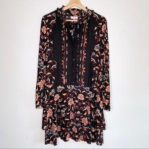 Parker Long Sleeve Silk Tiered Ruffle Button Dress